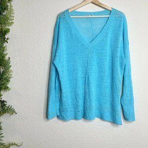 Eileen Fisher Linen V-Neck Sweater Blue Sweater L